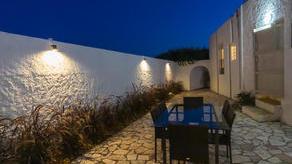 Rear terrace at night